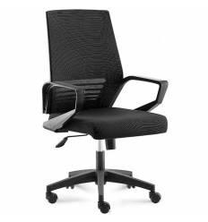 Кресло NORDEN Ergo Black LB Full Black для руководителя, черный пластик, черная сетка, черная ткань