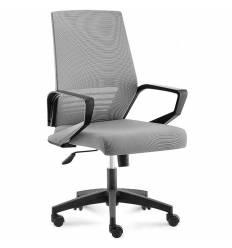 Кресло NORDEN Ergo Black LB Full Grey для руководителя, черный пластик, серая сетка, серая ткань