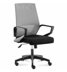 Кресло NORDEN Ergo Black LB Grey Black для руководителя, черный пластик, серая сетка, черная ткань