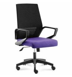 Кресло NORDEN Ergo Black LB Black Violet для руководителя, черный пластик, серая сетка, фиолетовая ткань