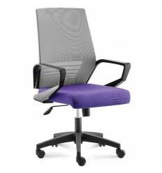 Кресло NORDEN Ergo Black LB Grey Violet для руководителя, черный пластик, серая сетка, фиолетовая ткань