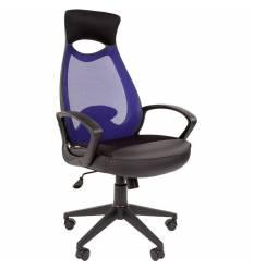 Кресло CHAIRMAN 840 Black/Blue для руководителя, цвет черный/синий