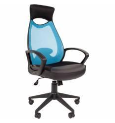 Кресло CHAIRMAN 840 Black/L.Blue для руководителя, цвет черный/голубой