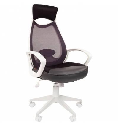 Кресло CHAIRMAN 840 White/Grey для руководителя, белый пластик, цвет серый