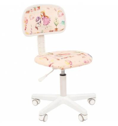 Кресло CHAIRMAN KIDS 101 Princess детское, белый пластик, ткань, с рисунком принцесса