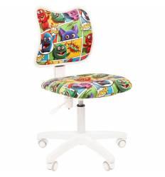 Кресло CHAIRMAN KIDS 102 Monstry детское, белый пластик, ткань, с рисунком монстры