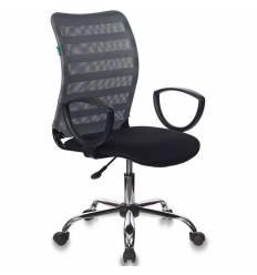 Кресло Бюрократ CH-599AXSL/32G/TW-11 для оператора, хром, сетка/ткань, цвет серый/черный