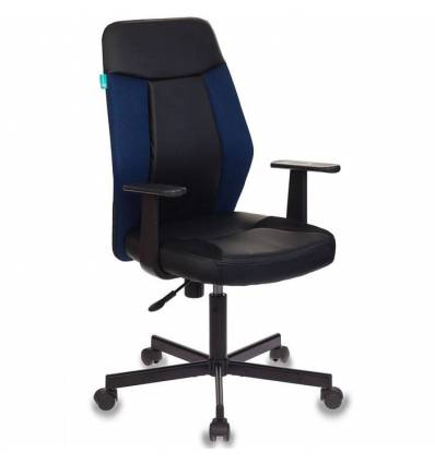 Кресло Бюрократ CH-606/BL+TW-10N для оператора, экокожа-ткань, цвет черный-синий