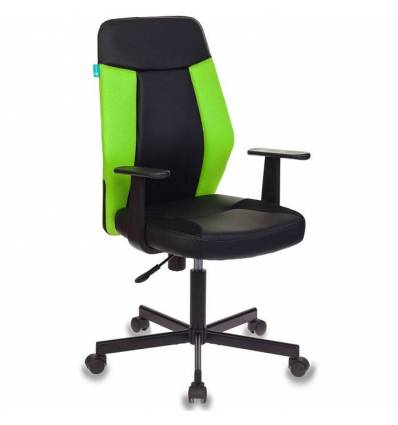Кресло Бюрократ CH-606/BL+TW-18 для оператора, экокожа-ткань, цвет черный-салатовый
