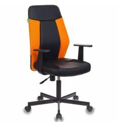 Кресло Бюрократ CH-606/BL+TW-96-1 для оператора, экокожа-ткань, цвет черный-оранжевый