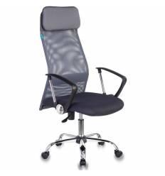 Кресло Бюрократ KB-6N/SL/DG/TW-12 для руководителя, сетка-ткань, цвет серый