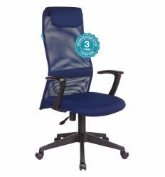 Кресло Бюрократ KB-8N/DB/TW-10N для руководителя, сетка-ткань, цвет синий