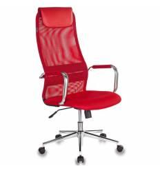 Кресло Бюрократ KB-9N/R/TW-97N для руководителя, сетка-ткань, цвет красный
