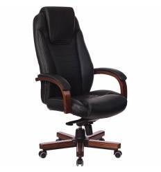 Кресло Бюрократ T-9923WALNUT/BLACK для руководителя, дерево, кожа, цвет черный