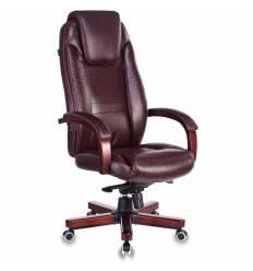 Кресло Бюрократ T-9923WALNUT/BROWN для руководителя, дерево, кожа, цвет коричневый