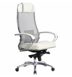 Кресло Samurai SL-1.03 белый лебедь для руководителя, сетка-кожа