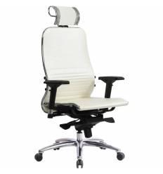Кресло Samurai K-3.03 белый лебедь для руководителя, кожа
