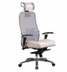 Кресло Samurai SL-3.03 белый лебедь для руководителя, сетка-кожа