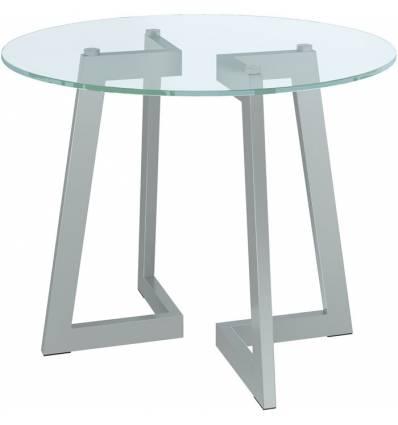 Стол КРОНИД Триада-12 СМ журнальный со стеклом, цвет металлик/прозрачное стекло