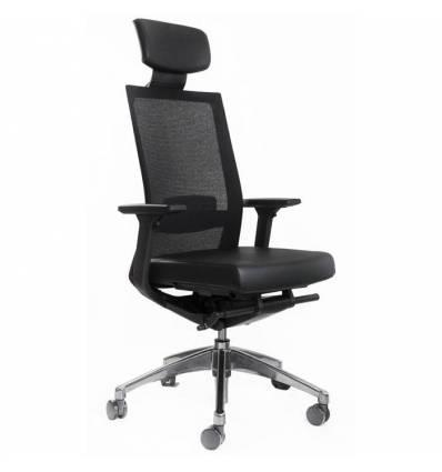 Кресло FALTO A1 для руководителя, хром, сетка-кожа, цвет черный