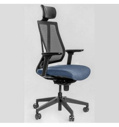 Кресло FALTO G1 Blue для руководителя, сетка-ткань, цвет черный-синий