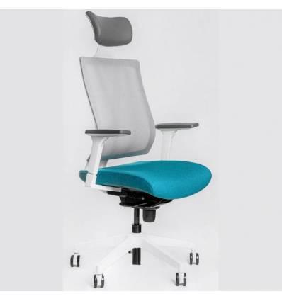 Кресло FALTO G1 White-Blue для руководителя, белый каркас, сетка-ткань, цвет серый-синий