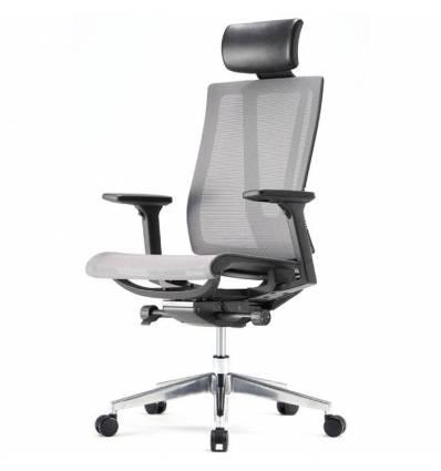 Кресло FALTO G1 Air Black для руководителя, черный каркас, сетка, цвет серый