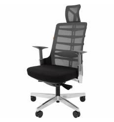 Кресло CHAIRMAN SPINELLY для руководителя, эргономичное, сетка-ткань, цвет серый-черный