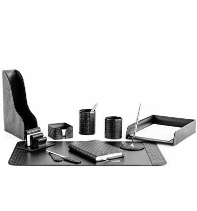 Настольный набор Бизнес, 10 предметов, кожа Treccia/Сuoietto, цвет черный