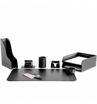 Настольный набор Бизнес, 9 предметов, кожа Treccia/Сuoietto, цвет черный