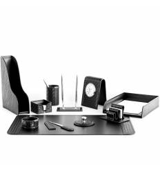 Настольный набор Бизнес, 11 предметов, кожа Treccia/Сuoietto, цвет черный