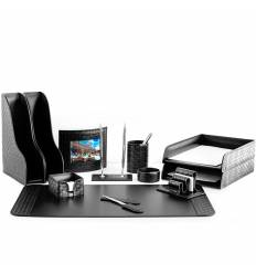 Настольный набор Бизнес, 12 предметов, кожа Treccia/Сuoietto, цвет черный