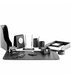 Настольный набор Бизнес, 13 предметов, кожа Treccia/Сuoietto, цвет черный