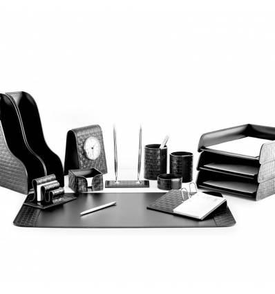 Настольный набор Бизнес, 14 предметов, кожа Treccia/Сuoietto, цвет черный