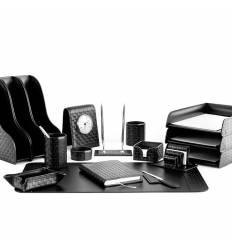 Настольный набор Бизнес, 17 предметов, кожа Treccia/Сuoietto, цвет черный