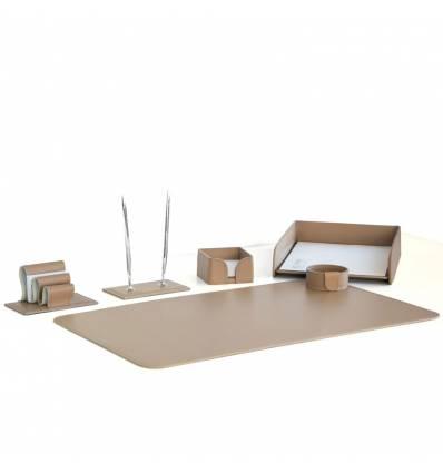 Настольный набор Бизнес, 6 предметов, кожа Сuoietto, цвет какао