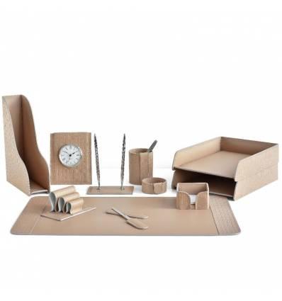 Настольный набор Бизнес, 11 предметов, кожа Treccia/Сuoietto, цвет какао