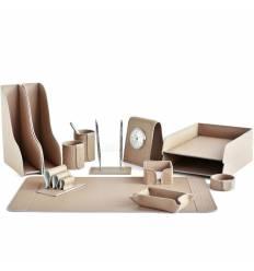 Настольный набор Бизнес, 13 предметов, кожа Treccia/Сuoietto, цвет какао