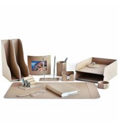 Настольный набор Бизнес, 14 предметов, кожа Treccia/Сuoietto, цвет какао