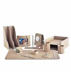 Настольный набор Бизнес, 15 предметов, кожа Treccia/Сuoietto, цвет какао