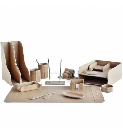 Настольный набор Бизнес, 16 предметов, кожа Treccia/Сuoietto, цвет какао