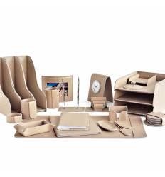 Настольный набор Бизнес, 23 предметов, кожа Treccia/Сuoietto, цвет какао