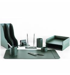 Настольный набор Бизнес, 11 предметов, кожа Treccia/Сuoietto, цвет зеленый