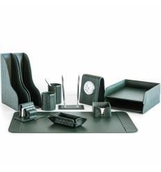 Настольный набор Бизнес, 12 предметов, кожа Treccia/Сuoietto, цвет зеленый