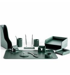 Настольный набор Бизнес, 13 предметов, кожа Treccia/Сuoietto, цвет зеленый