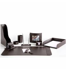 Настольный набор Бизнес, 10 предметов, кожа Treccia/Сuoietto, цвет шоколад