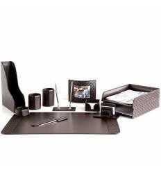 Настольный набор Бизнес, 12 предметов, кожа Treccia/Сuoietto, цвет шоколад