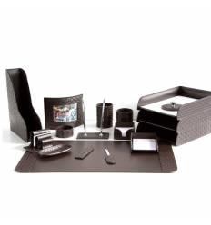 Настольный набор Бизнес, 16 предметов, кожа Treccia/Сuoietto, цвет шоколад