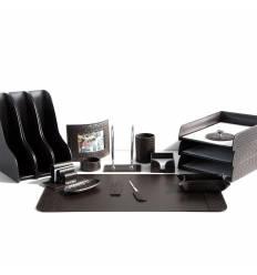 Настольный набор Бизнес, 17 предметов, кожа Treccia/Сuoietto, цвет шоколад