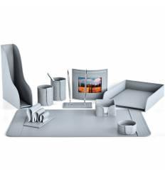 Настольный набор Бизнес, 10 предметов, кожа Treccia/Сuoietto, цвет серый